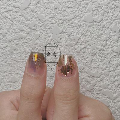 黑金铜美甲图