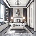 60平米三室一厅中式风格卧室效果图