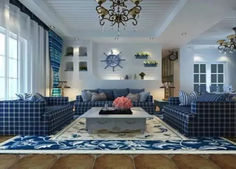 80平米一室两厅地中海风格客厅图