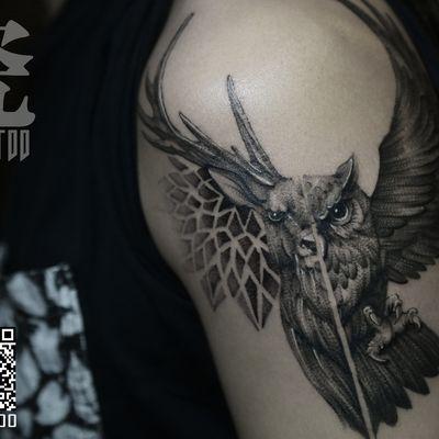 鹿与猫头鹰纹身款式图