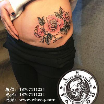 粉玫瑰纹身款式图
