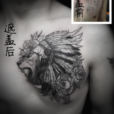 遮盖 狮子纹身图