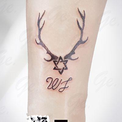 点刺 鹿&六芒星纹身款式图