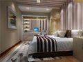 90平米三室一厅现代简约风格卧室背景墙装修案例