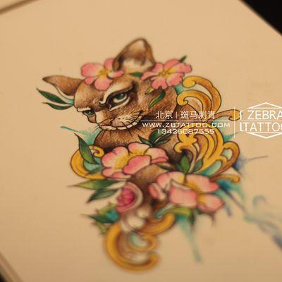猫手稿纹身图