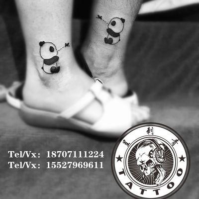 熊猫情侣纹身图