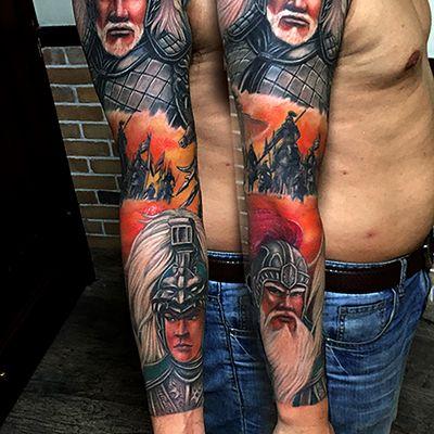 彩色三国人物肖像花臂纹身图