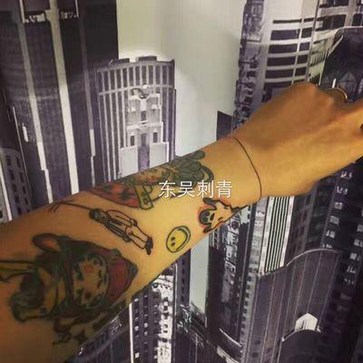 花臂拼接纹身款式图