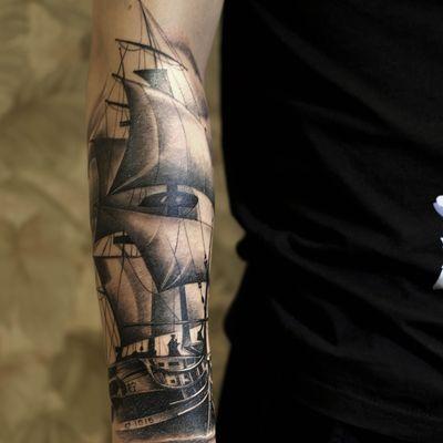 写实帆船纹身款式图