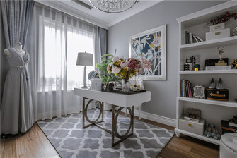 富裕型140平米四室四厅法式风格书房装修图片大全