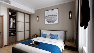 60平米公寓中式风格卧室装修效果图